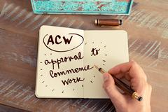 Acronym ACW APPROVAL TO COMMENCE WORK - stock photo