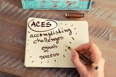 ACES ACCOMPLISHING CHALLENGES EQUALS SUCCESS - stock photo