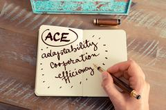 Business Acronym ACE Adaptability, Cooperation, and Efficiency - stock photo