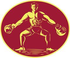 Athlete Lifting Kettlebell Oval Woodcut - stock illustration