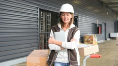 Portrait of smiling warehouse manager Stock Footage