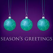 Bright purple Season's Greetings bauble card in vector format. - stock illustration