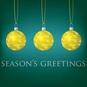 Bright aqua Season's Greetings bauble card in vector format. - stock illustration