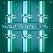 Season's Greetings stripe cracker card in vector format. - stock illustration