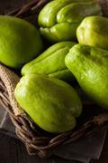 Raw Green Organic Chayote Stock Photos