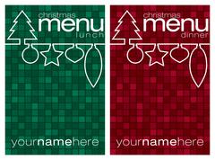 Red and green mosaic line Christmas lunch and dinner menus in vector format. - stock illustration
