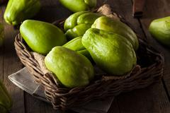 Raw Green Organic Chayote - stock photo
