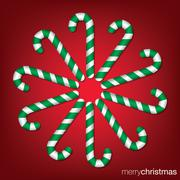 Candy cane Christmas card in vector format. - stock illustration
