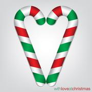 Candy cane Christmas card in vector format. Stock Illustration