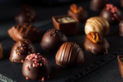 Homemade Dark Chocolate Truffles Stock Photos