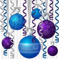 French blue and purple ribbon and bauble inspired Merry Christmas Stock Illustration