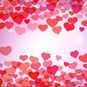 Valentines Day background with scattered blurred tender hearts Stock Illustration
