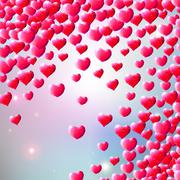 Valentines Day background with scattered gem hearts - stock illustration