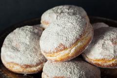 Homemade Sugary Paczki Donut Stock Photos