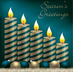 Season's Greetings candle, bauble and tinsel card in vector format. - stock illustration
