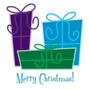 Funky gift Christmas card in vector format. - stock illustration