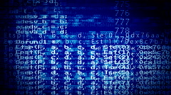 Computer program chaotic code blue Stock Footage