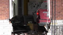 Vehicle Crashed Into Home Stock Footage