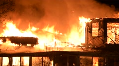 House Fire With Heavy Flames Stock Footage