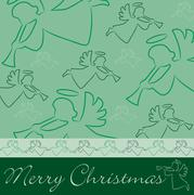 """Hand drawn angel """"Merry Christmas"""" card in vector format. Stock Illustration"""