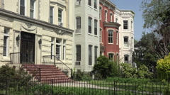 Capitol Hill beautiful row houses yards Washington DC HD 041 Stock Footage