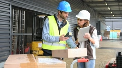 Store manager with warehouseman checking goods reception Stock Footage