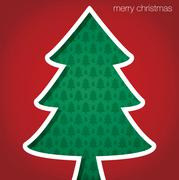 """Christmas Tree """"Merry Christmas"""" cut out card in vector format. - stock illustration"""