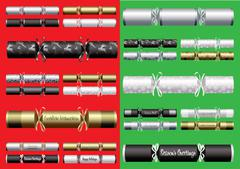 Silver, gold, platinum and black Christmas crackers in a variety - stock illustration