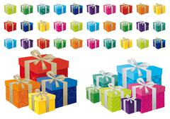 A vector illustration of different coloured festive gifts - stock illustration