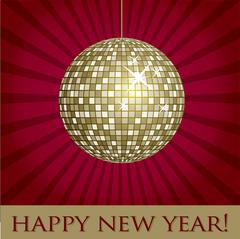 Disco ball fun happy new year card in vector format. - stock illustration