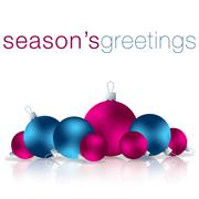 Season's Greetings bauble card in vector format. - stock illustration