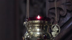 Icon lamp from brass in orthodox church, religious concept Stock Footage