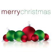 Merry Christmas bauble card in vector format. Stock Illustration