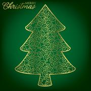 Elegant filigree Christmas card in vector format. - stock illustration
