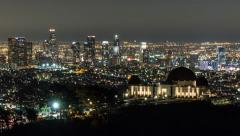 Downtown Los Angeles and Griffith Park Dusk to Night Time Lapse with Zoom Stock Footage