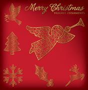 Christmas filigree ornament set in vector format. Stock Illustration