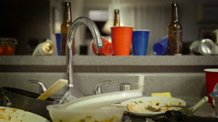 Dirty Dishes  In Sink After Party Stock Footage