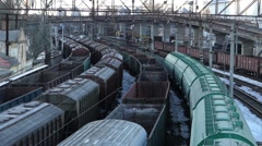 Railway station. Freight trains standing on the railway. - stock footage
