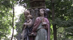 Catholic statue in the cemetery Stock Footage