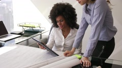 3 Women Colleagues Architect With Tablet PC And Blueprints - stock footage