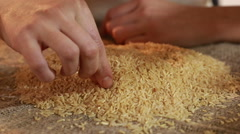 Bad dirty and low-quality rice close up Stock Footage