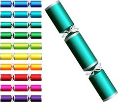 Plain Christmas crackers in a variety of colours on a white background. - stock illustration