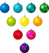 A vector illustration of different coloured patterned Christmas - stock illustration