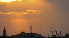 Stock Video Footage of Venice with tower and antennas seen at dawn