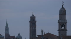 Three towers and a dome in Venice Stock Footage