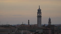 View of three church towers in Venice Stock Footage