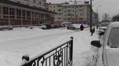 Winter snow-covered streets in Brest city Stock Footage