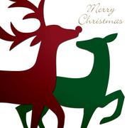 Kissing reindeer Christmas card in vector format. - stock illustration