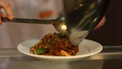 Stir-fry. Noodles with vegetables. Stock Footage