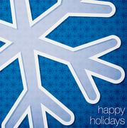 "Cut out ""Happy Holidays"" snowflake card in vector format. - stock illustration"